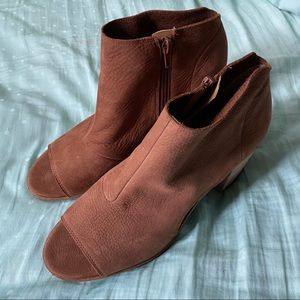Lucky brand tan heeled open toe booties size 10